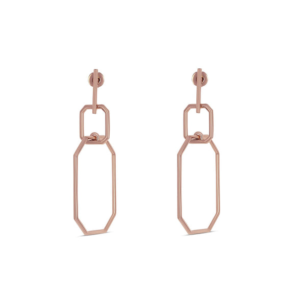 James Emerald Hoop Earrings Rose Gold