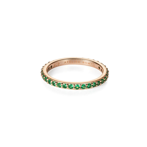 Eternity Ring Rose Gold with Green Pave , Size M (EUR 52)