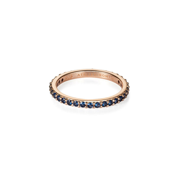 Eternity Ring Rose Gold with Blue Pave - Size M /EUR 52