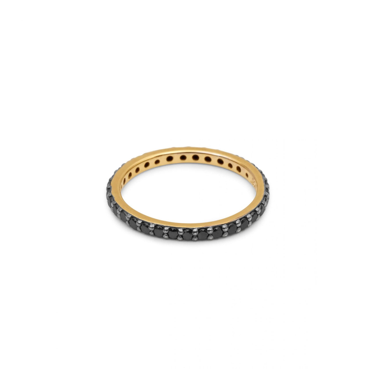Eternity Ring Yellow Gold with Black Pave