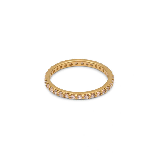 Eternity Ring Yellow Gold with White Pave