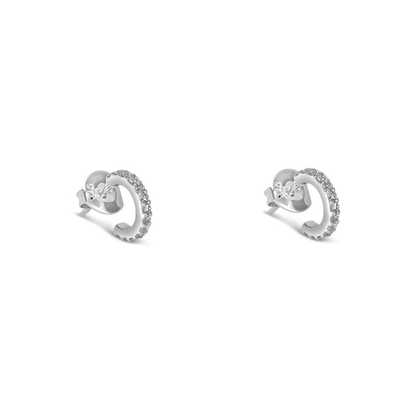 The Olivia Mini Hoop Earrings Silver with White Pave