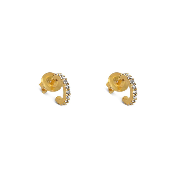 The Olivia Mini Hoop Earrings Yellow Gold with White Pave