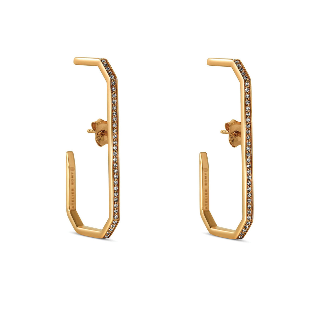The Lara L Earrings Yellow Gold with Pave