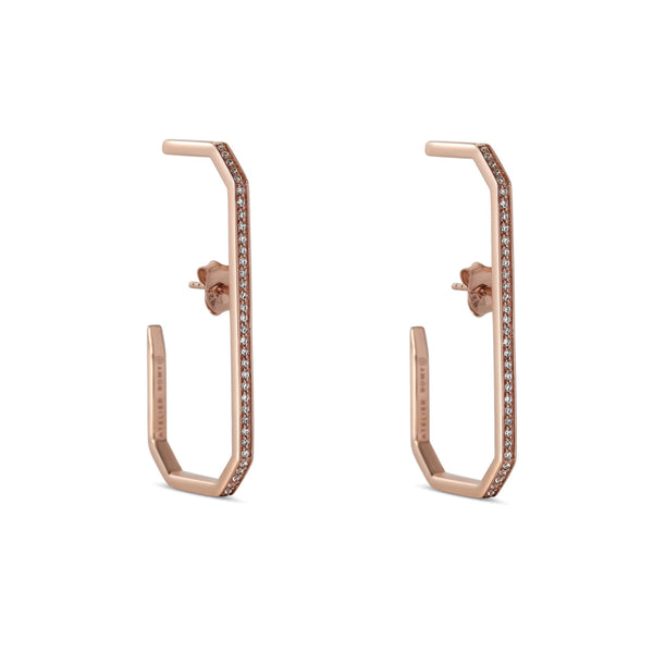 The Lara L Earrings Rose Gold with Pave