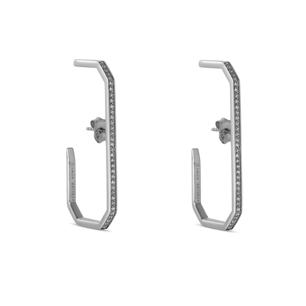The Lara L Earrings Silver with Pave