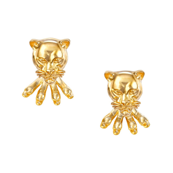 Leopard Stud Earrings with claws Yellow Gold