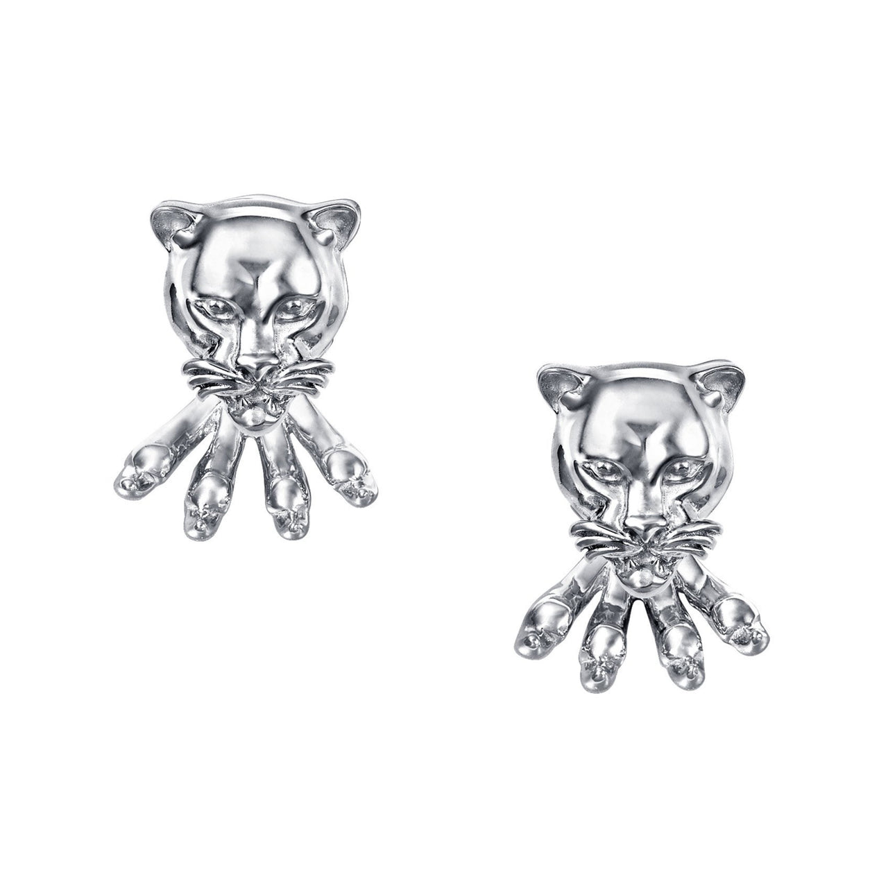 Leopard Stud Earrings with claws Silver