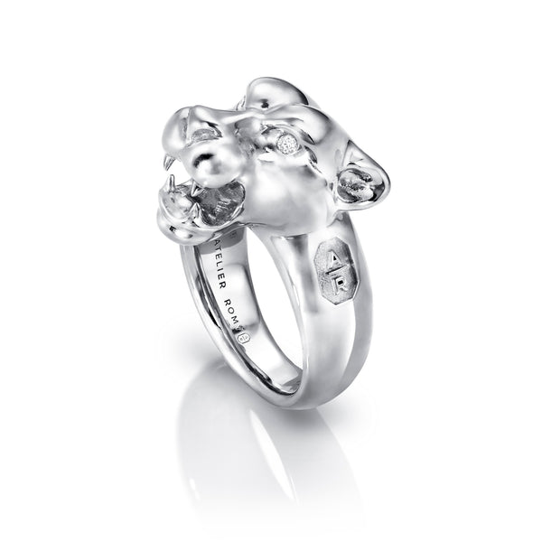 Leopard Ring Silver with Diamond Eyes