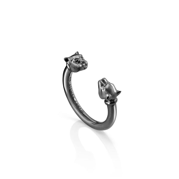 Open Leopard Ring Black Rhodium