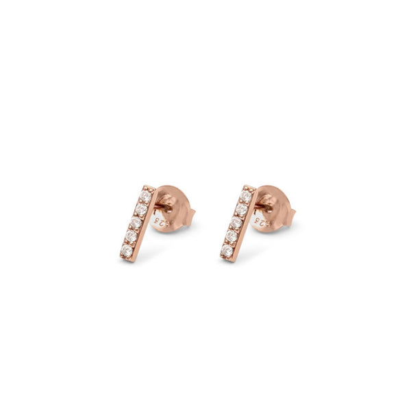 Line Earrings Rose Gold with White Pave