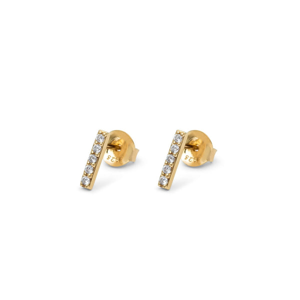 Line Earrings Yellow Gold with White Pave