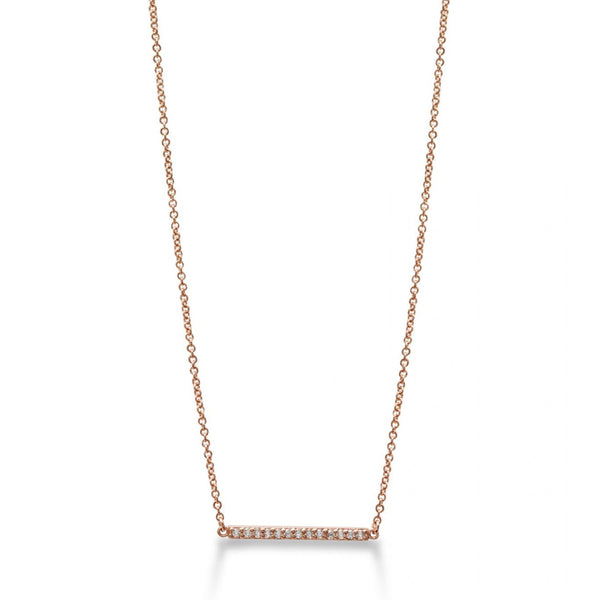 Line Necklace Rose Gold with White Pave