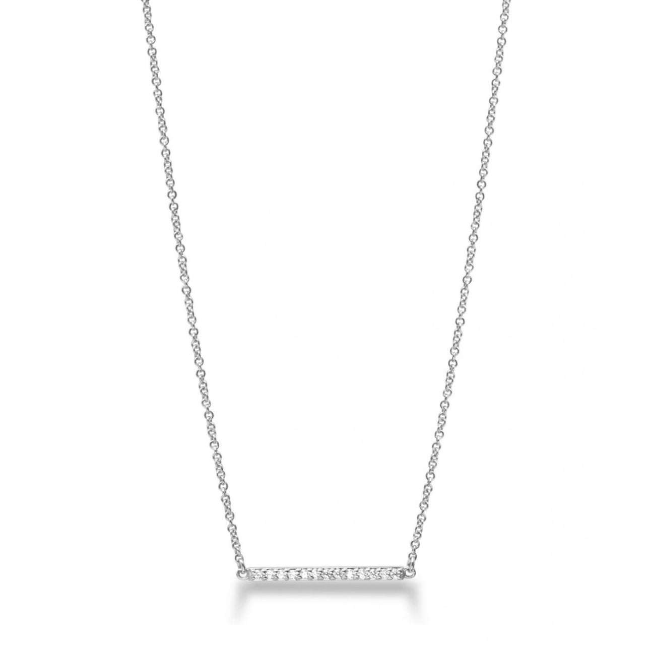 Line Necklace Silver with White Pave
