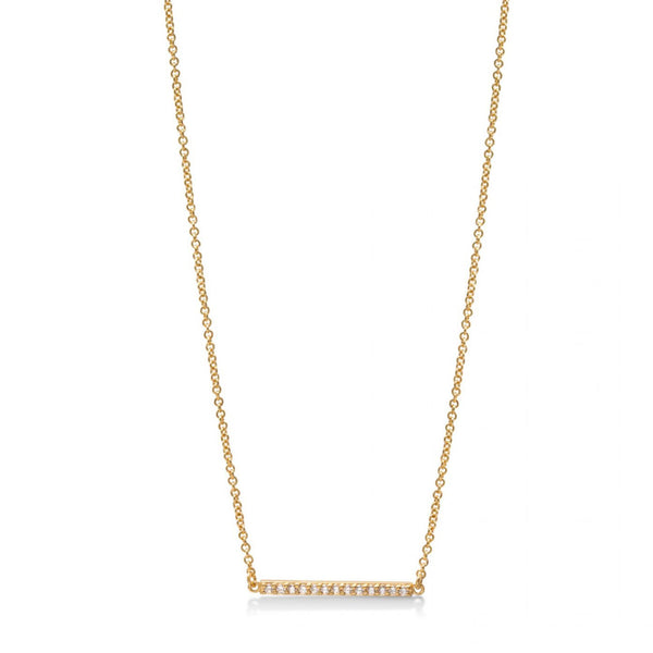 Line Necklace Yellow Gold with White Pave