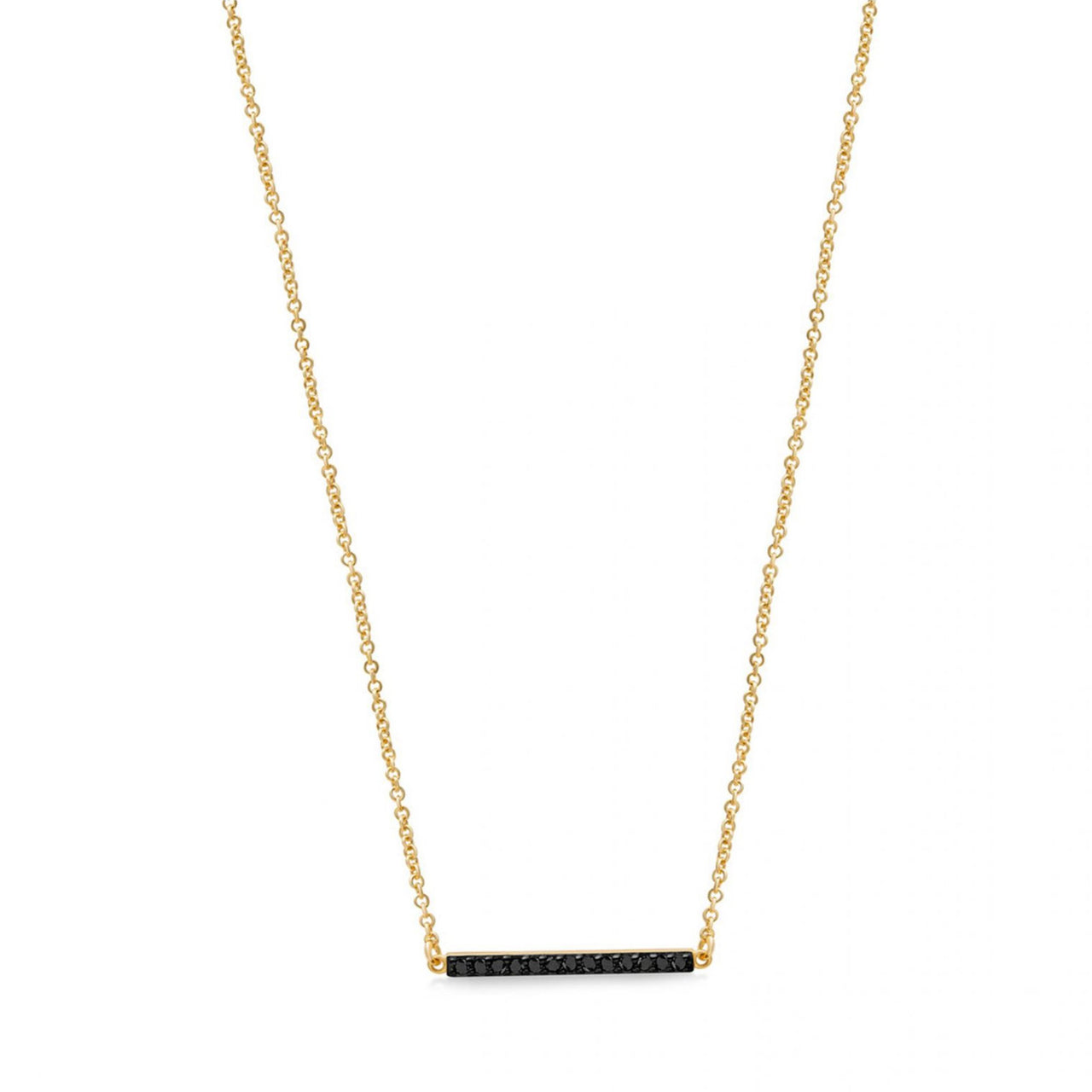 Line Necklace Yellow Gold with Black Pave