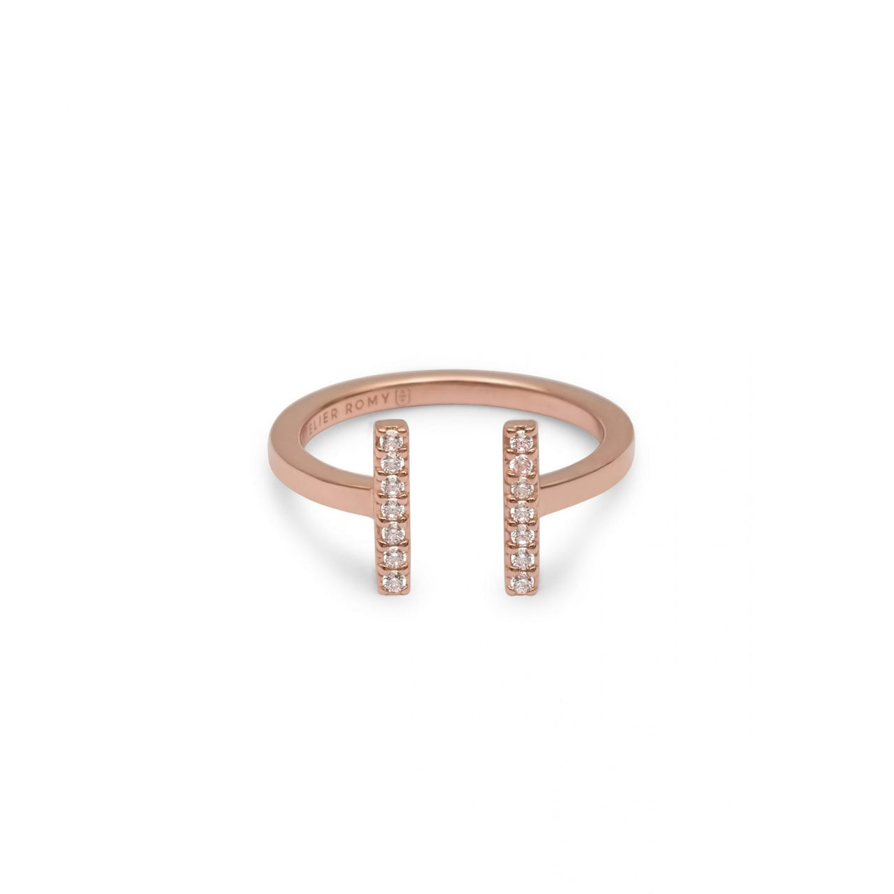 Eternity Line Ring Rose Gold with White Pave