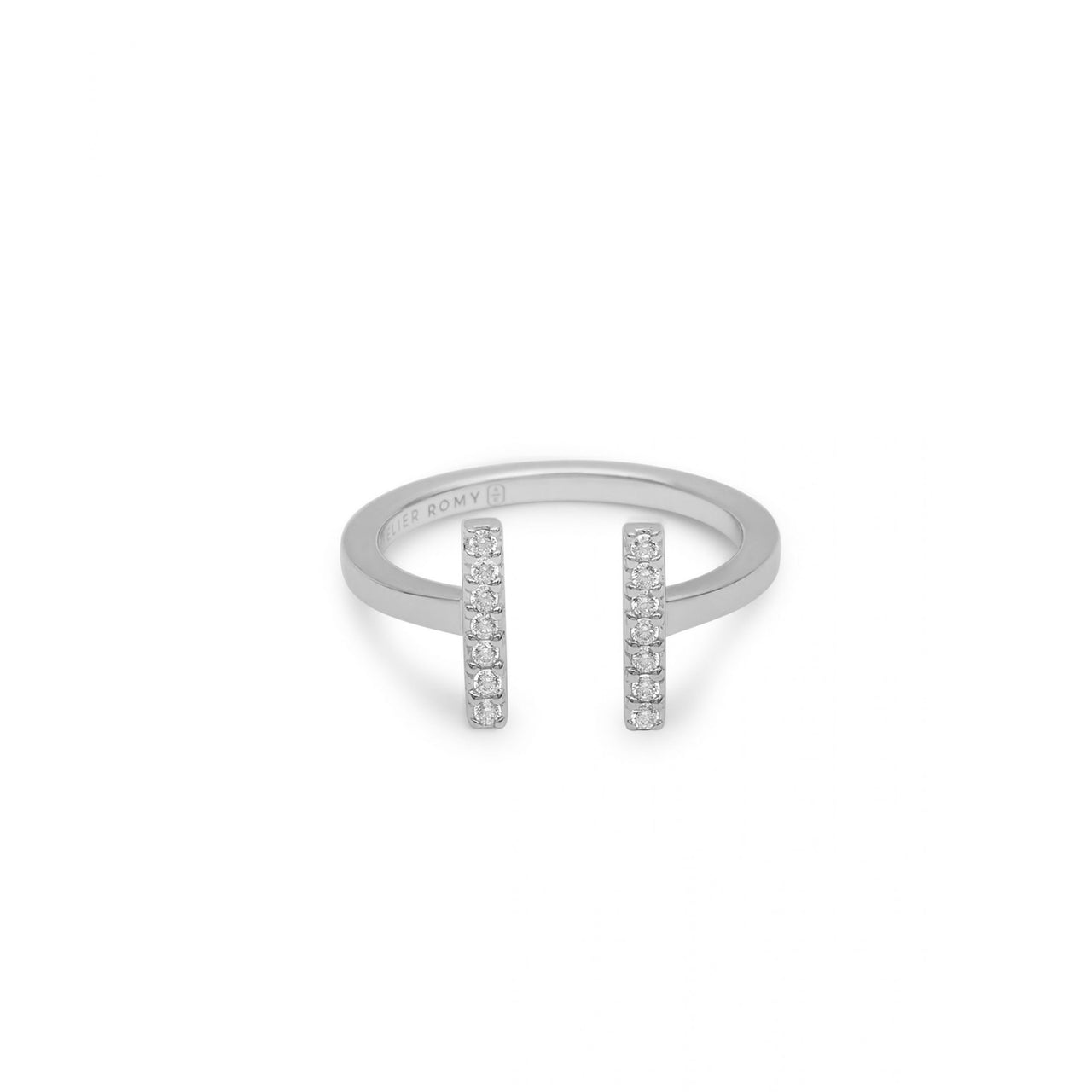 Eternity Line Ring Silver with White Pave