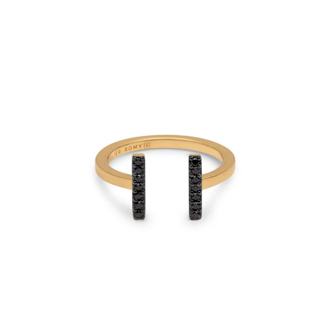 Eternity Line Ring Yellow Gold with Black Pave