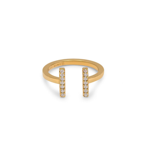 Eternity Line Ring Yellow Gold with White Pave