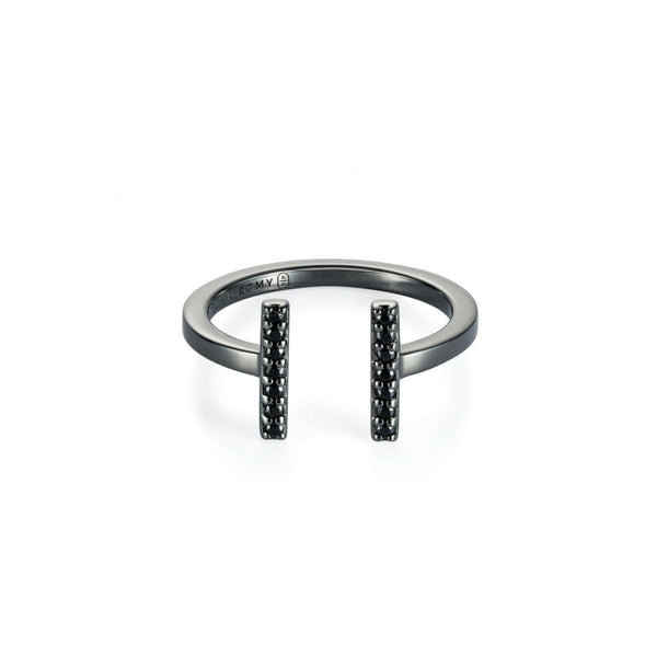 Eternity Line Ring Black Rhodium with Black Pave