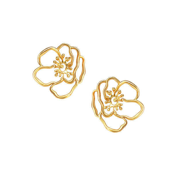 Mini Gold Anemone Earrings