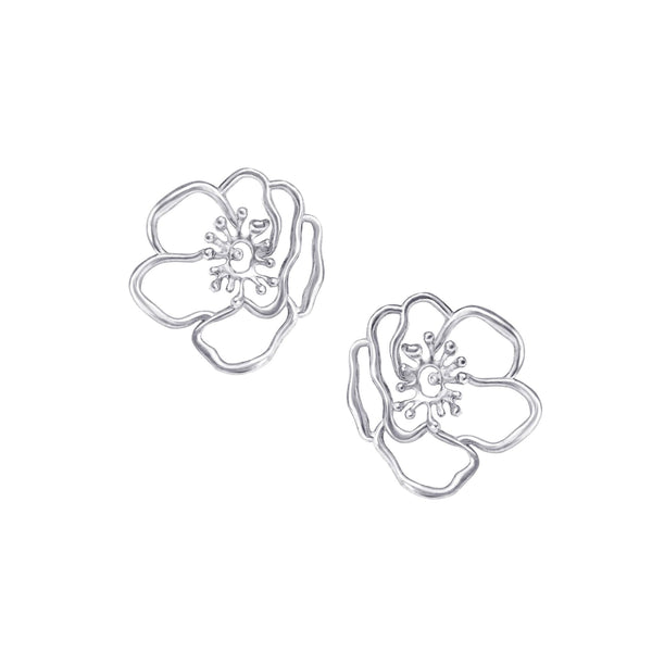 Mini Silver Anemone Flower Earring