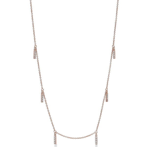 Multi Line Necklace Rose Gold with White Pave