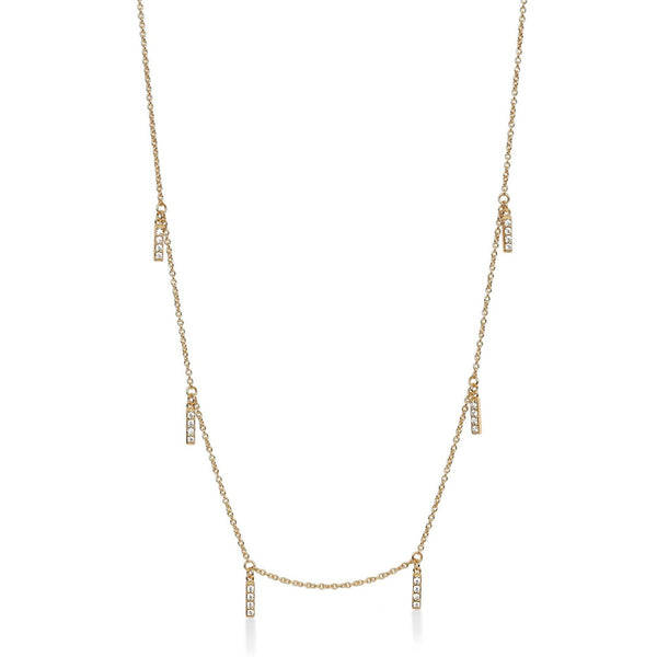 Multi Line Necklace Yellow Gold with White Pave