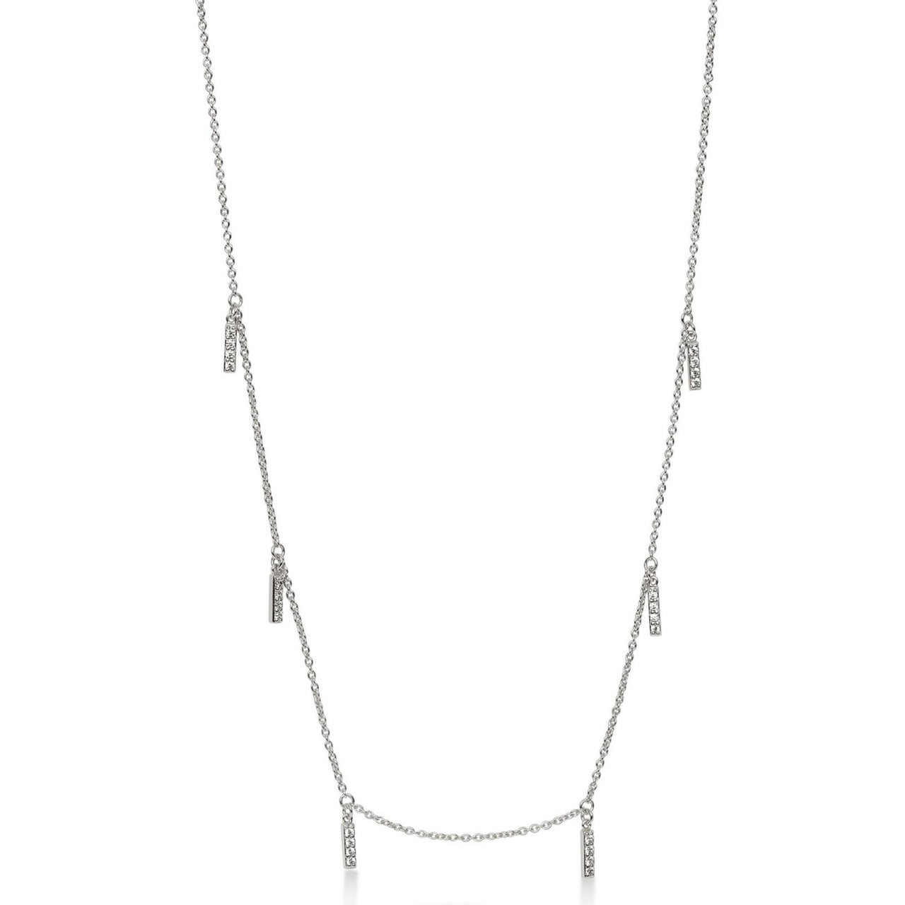 Multi Line Necklace Silver with White Pave