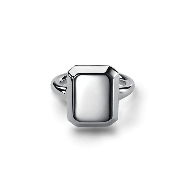 Emerald Signet Ring Silver