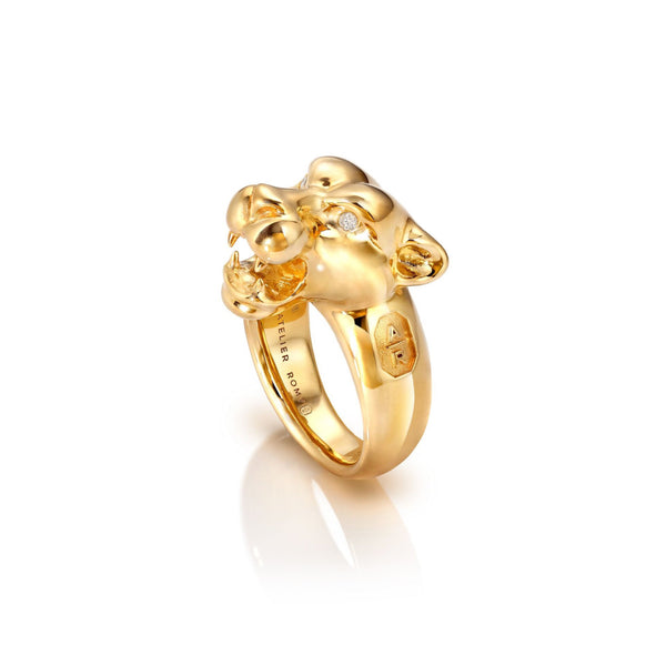 Leopard Ring with Diamond Eyes