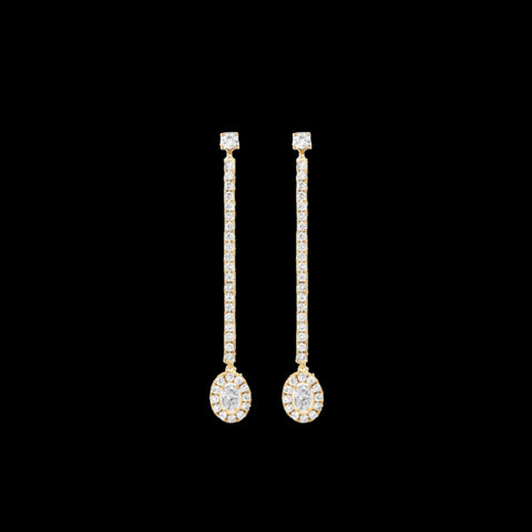 boucles d'oreilles pendantes or et diamants
