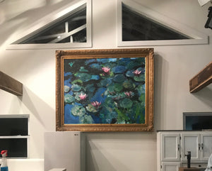 Water Lilies in Blue - 60x48 original painting - SOLD