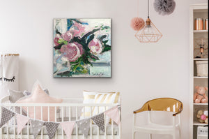 Pink Peonies in a Square Glass Vase - giclee
