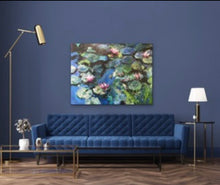 Load image into Gallery viewer, Water Lilies in Blue - 60x48 original painting - SOLD