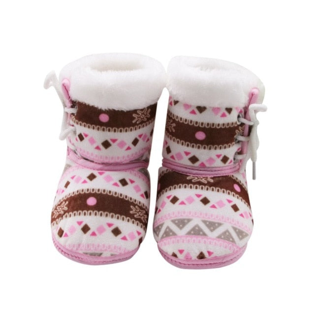 1 Pair 0-18M Autumn Winter Warm Fleece Snow Boots
