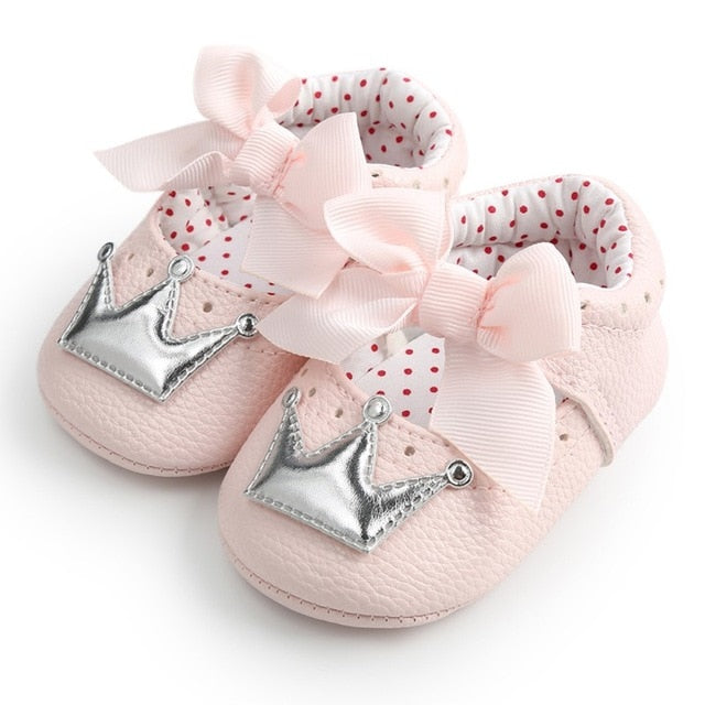 New Baby Girl Shoes Lace PU Leather Princess Baby Crown Shoes First Walkers Newborn Moccasins For Girls