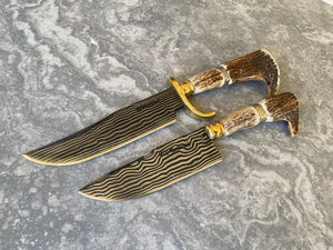 "7.5"" + 6"" Damascus Mosaic Linear Bowie Collector Knives 80 Layers"