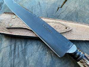 "10"" Deer Antler Integral Chef Knife - Forged Carbon Steel 5160"