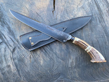 "Load image into Gallery viewer, 10"" Deer Antler Integral Chef Knife - Forged Carbon Steel 5160 - 02"