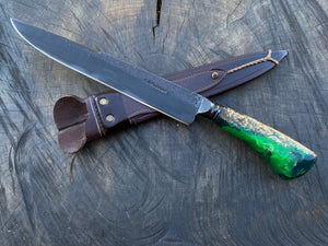 "10"" Custom Resin Integral Chef Knife - Forged Carbon Steel 5160"