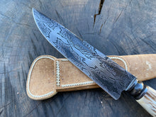 "Load image into Gallery viewer, 6"" Damascus Mosaic Chef Knife with 600 layers of 15N20 and 1096 steels - 150mm"