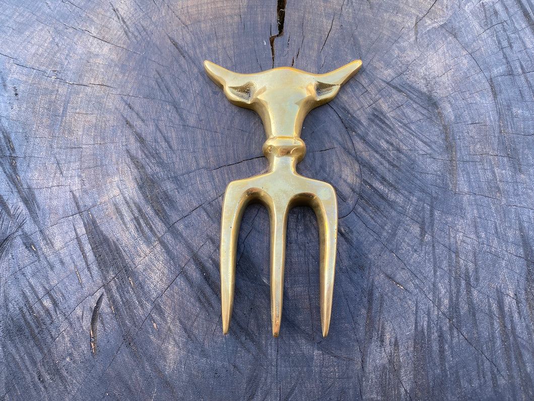 Custom Bull Fork in Solid Brass - Brass / Gold colour