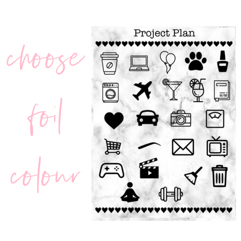 Foil Mixed Icon Planner Stickers