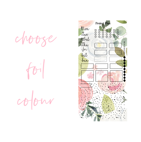 Foil White and Peach Floral Hobonichi Weeks Kit