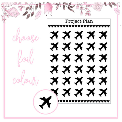 Foil Plane/Flight Icon Planner Stickers