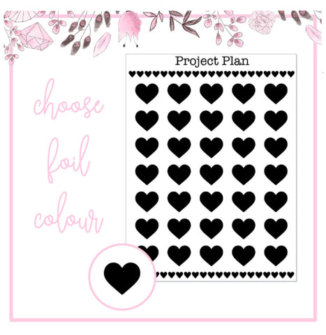 Foil Heart Icon Planner Stickers