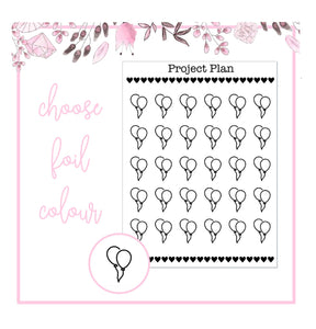Foil Balloon Icon Planner Stickers