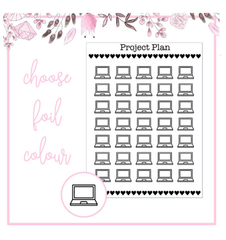 Foil Laptop Icon Planner Stickers